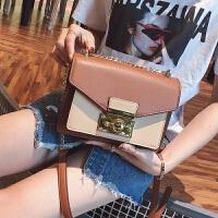 包包女2018新款潮韩版时尚百搭撞色链条小方包斜挎少女单肩包