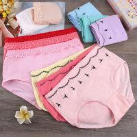 棉质纯色l蕾丝少女内裤日系透气甜美可爱中腰提臀三角裤糖果色