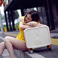 小行李箱万向轮旅行箱女16寸拉杆箱学生登机箱17迷你密码箱18 米白色 16寸终身保修