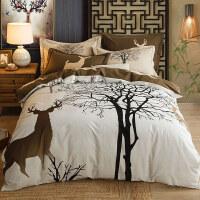 加厚纯棉磨毛四件套全棉磨毛四件套纯棉床单被子被套床上用品中式家纺床品套件 2.0m(6.6英尺)床 适合220*240