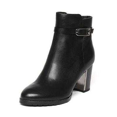 Belle/百丽冬季专柜同款黑油皮牛皮女短靴(绒里)BMG42DD6