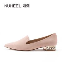 如熙2017 新款单鞋低帮浅口 休闲鞋粗跟时尚女鞋