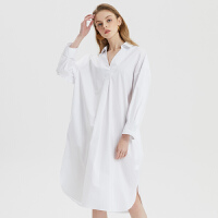 【5.16-5.17日抢购价:105】MECITY女装2020夏季新款ins纯棉气质减龄宽松V领长袖衬衫
