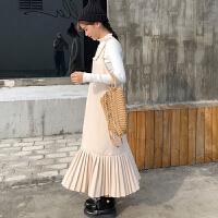 秋冬chic韩版女装宽松毛呢面料百褶连衣裙学生吊带裙子长裙潮