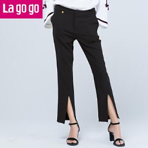 Lagogo2017秋新款时尚黑色高腰前开叉显腿瘦休闲裤女长裤子铅笔裤