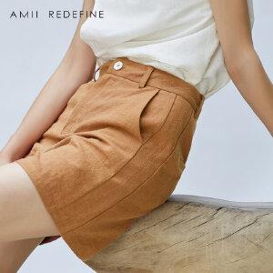 [AMII东方极简] JII AMII2017秋装新款女装亚麻宽松纯色插袋百搭休闲阔腿短裤