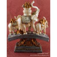【】树脂工艺品欧式风格三象运福宝树脂摆件工艺品 图片色 BN80920*8.7*24.5