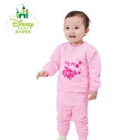 迪士尼Disney儿童套装秋冬新款夹棉男女宝宝肩开扣保暖内衣家居服174T701