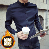 №【2019新款】冬天年轻人穿的新款男士加绒衬衫男长袖修身韩版立领潮流中国风衬衣男