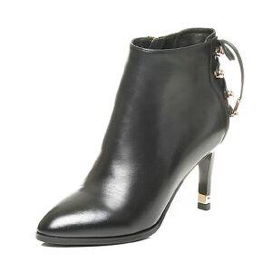 Tata/他她2017冬黑色牛皮水钻绑带尖头细高跟女皮靴FNP40DD7