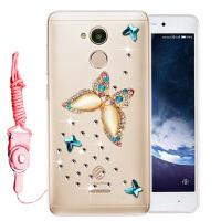 中国移动A3S手机套 M653手机壳保护套胶软套防摔全包水钻女 戏碟水钻送挂绳