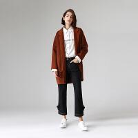 【开学季,折扣价:309元】初语毛呢外套女秋季新款翻领宽松气质深色中长款双面呢子大衣