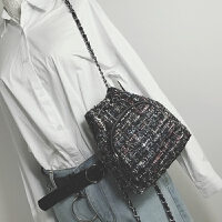 秋冬新款女包迷你呢子小双肩包女韩版休闲链条小背包旅行小包