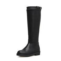 2018冬秋新款皮靴子长靴平底女靴高筒靴女马靴粗跟骑士靴软底
