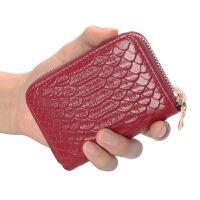 皮卡包女式多卡位大容量欧美鳄鱼纹头层拉链风琴*片零钱包