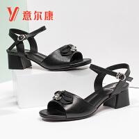 【限时价99】意尔康女鞋夏季时尚粗跟牛皮革凉鞋