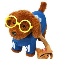 电动钓鱼玩具儿童电动毛绒玩具狗狗会唱歌会叫电子机器狗仿真泰迪牵绳走路小狗A 蓝色 泰迪牵绳狗