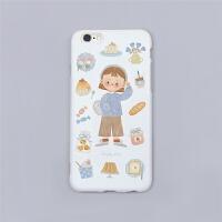 甜甜女孩/手绘可爱苹果/8/7plus/iphoneXS/MAX/XR手机壳软 草莓女孩iphone6/6s 全白软壳