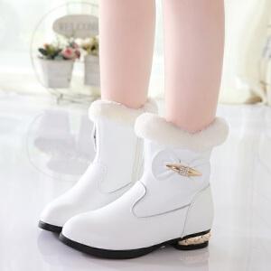 女童靴子2018冬季新款韩版中筒靴子儿童加绒学生保暖二棉公主鞋