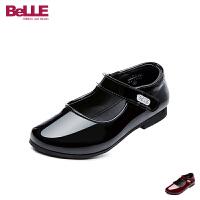 百丽Belle童鞋2018新款女童时装鞋时尚典雅儿童皮鞋纯色女生校园学生鞋 (5-10岁可选)DE0695