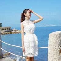 泰国潮牌小个子高腰蛋糕裙子女夏季镂空蕾丝连衣裙海边度假沙滩裙 白色