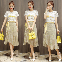 韩版两件套装裙子潮夏装 2018夏季新款短袖蕾丝雪纺连衣裙女装