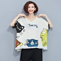 韩范加肥特大码女装印花卡通猫咪民族风全棉T恤上衣200斤220斤250