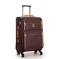新品拉杆箱万向轮商务OL旅行箱密码箱行李箱男女登机箱8寸22寸26 咖啡色 黄边