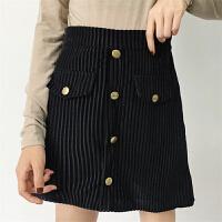 时尚半身裙女春装2018新款韩版chic复古灯芯绒修身条纹A字裙短裙