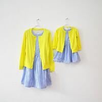 2018春夏款明星同款亲子装母女裙纯棉连衣裙+嫩黄开衫两件套装