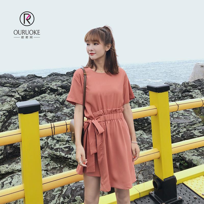 欧若珂  2018夏季新款韩版女收腰绑带ins短袖开叉连衣裙女