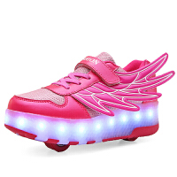 儿童USB充电发光鞋男童七彩LED灯鞋女童翅膀闪光带灯亮灯童鞋夜光