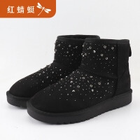 【领�幌碌チ⒓�120】红蜻蜓冬季雪地靴女中筒防水防滑棉鞋厚底加绒加厚保暖靴