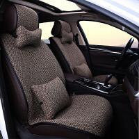 新款汽车坐垫冬季亚麻坐套粗麻养生座垫免绑四季通用小蛮腰坐垫套