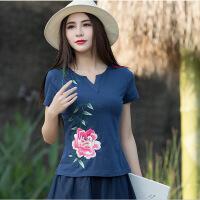 夏装民族风女装短袖显瘦上衣刺绣花打底衫V领修身T恤女
