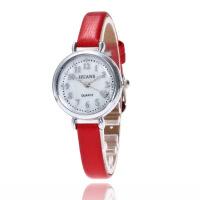 韩版时尚学生银色手表女士细带时装表贝壳面皮带石英腕表