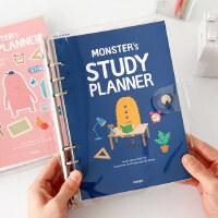 韩国小怪兽学习计划本6孔活页夹6个月学生日程安排A5记事本