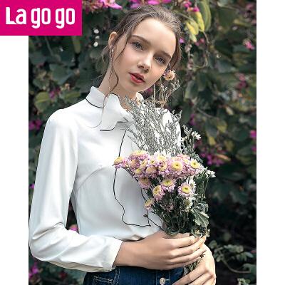 Lagogo/拉谷谷2019年春季新款时尚领口系带长袖衬衫HACC432M02