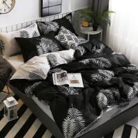 冬季磨毛 床单单件学生宿舍三件套单人纯棉1.8米被套双人2.0m被罩 叶墨 2.2米床被套220X240+1床单+2枕