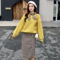 卫衣加裙子两件套秋冬季2018新款韩版宽松显瘦格子半身裙子套装女 图片色【两件套】
