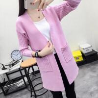 秋季韩版中长款纯色V领针织衫开衫长袖披肩毛衣女装外套xx