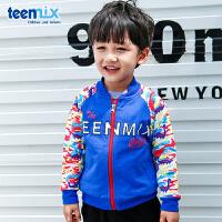 天美意teenmix童装男童外套2018春季新款幼童休闲针织拉链衣服儿童时尚服装 CZ0144