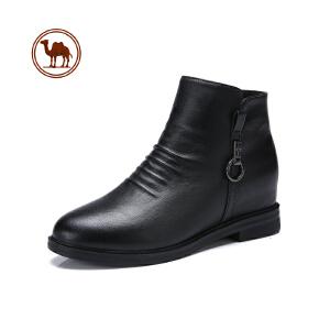 骆驼牌女鞋新款春秋冬真皮马丁靴女靴低跟中短靴女鞋踝靴粗跟裸靴