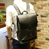 81新日韩双肩包韩版皮质商务潮流翻盖时尚背包书包男士旅行包电脑包 黑色满2件送手包