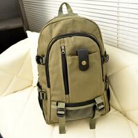 新款帆布大容量男士双肩包旅行背包时尚潮男中大学生书包包