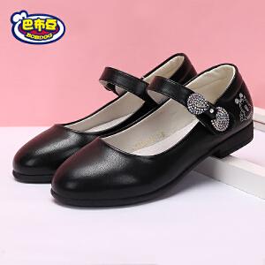 巴布豆童鞋 女童皮鞋2017春秋新款学生演出鞋黑色皮鞋单鞋公主鞋