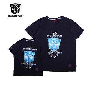 【2件3折】变形金刚童装男童夏装2018夏季新品短袖T恤上衣亲子装男装