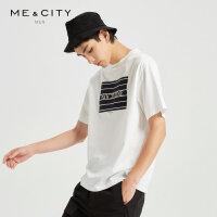 【1件3折到手价:73.8】MECITY男装夏季新款时尚情侣款短袖男士白色潮流T恤男