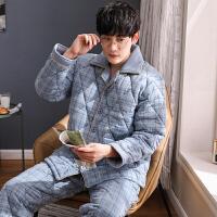 中老年人爸爸睡衣男冬季三层加厚夹棉保暖中年家居服套装