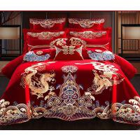 床单高档欧式喜事床笠龙凤贡缎八件套四件套绣花结婚用。婚庆